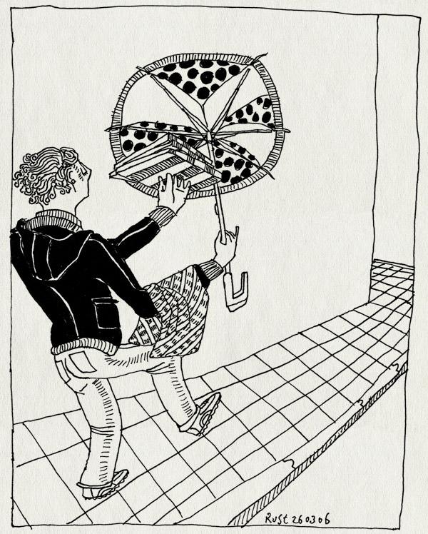 tekening 539, paraplu pizza ober straat stoep umbrella waiter street sidewalk