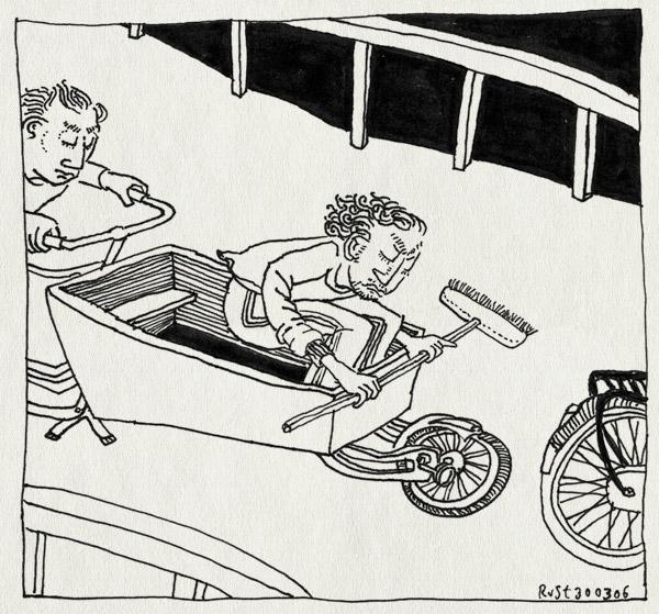 tekening 542, bakfiets bakfietsrace nieuwe heeren nieuwe heren nh49 bezem fiets race bike bicycle canal amsterdam