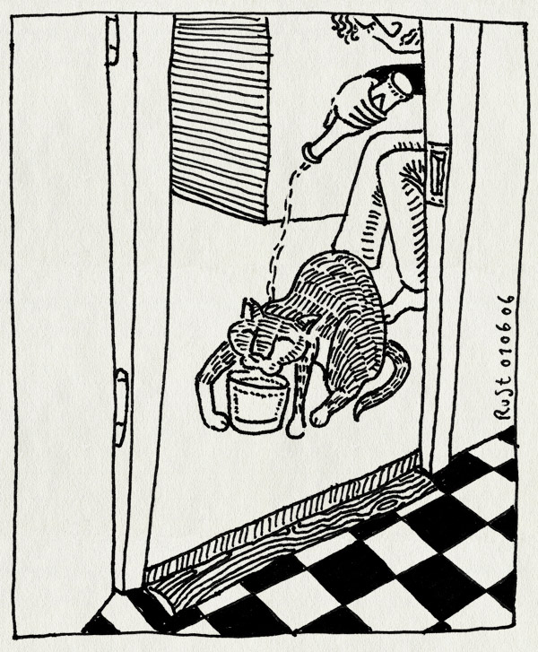 tekening 548, tijger water tijgertje cat kat poes badkamer bathroon tiles