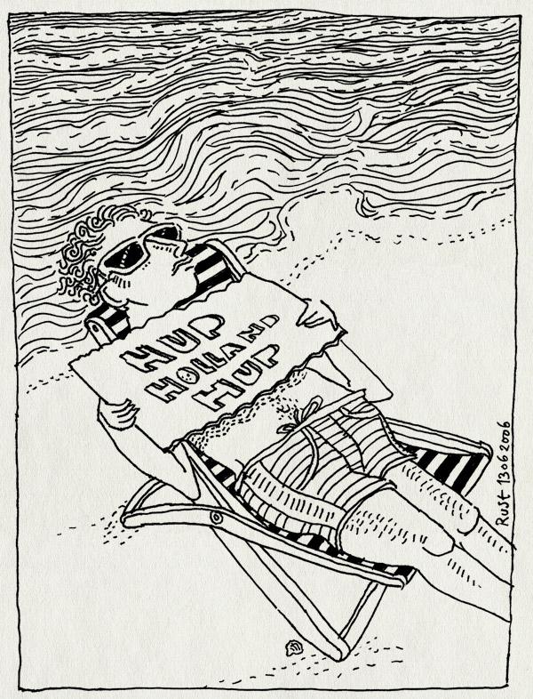 tekening 550, hup holland hup strand water beach sunglasses zonnenbril zonnebril strandstoel