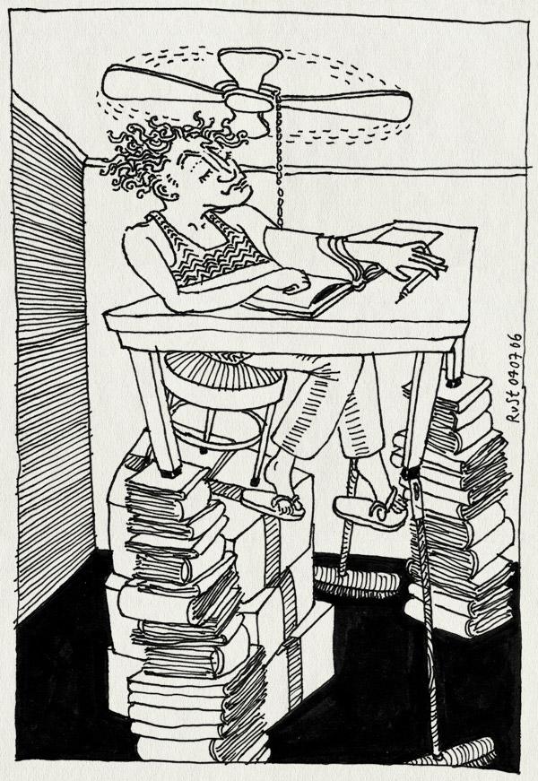 tekening 553, warm hitte tafel van ventilator boeken stapel waaien