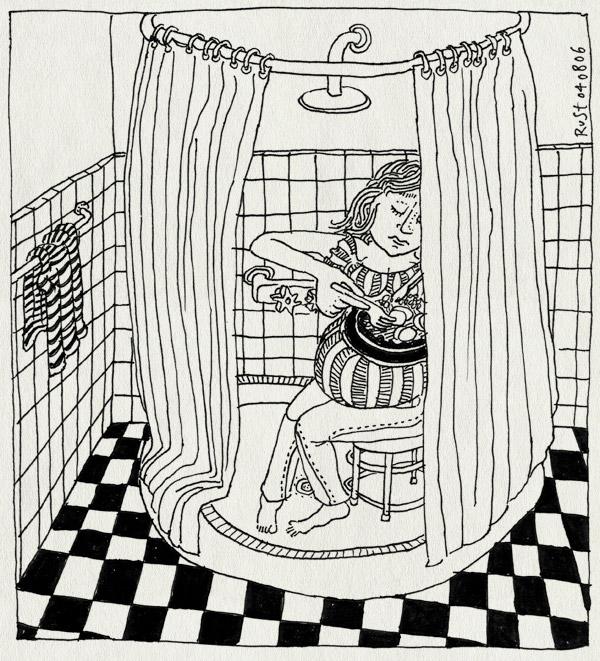 tekening 557, 10e zwanger badkamer douche vliezen breken handdoek eten zitten kruk