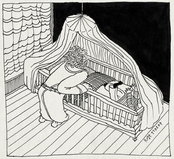 tekening 562, midas bed cradle wieg hemeltje rust ochtendjas morning ochtend maasstraat