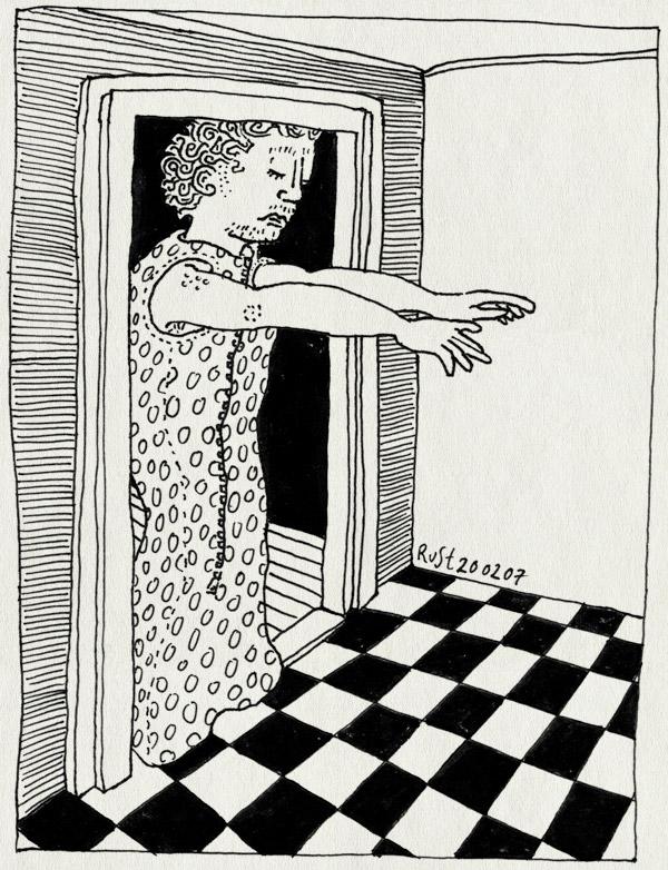 tekening 568, sleep sleepwalk walk trappelzak tripes dots polkadot