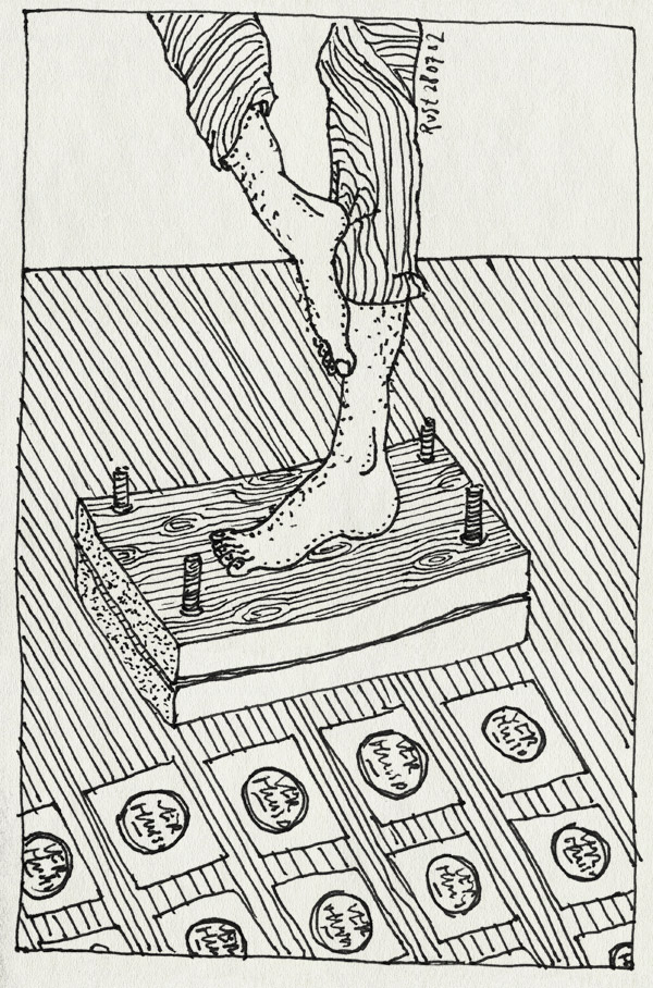 tekening 57, handgemaakt, linosnede, persen, stempel, verhuiskaart, voet, voeten, voetgemaakt, zelfgemaakt