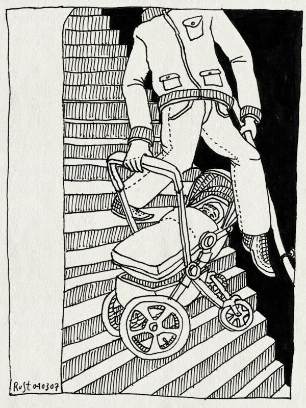 tekening 574, maasstraat trap stairs amsterdam kinderwagen bugaboo midas baby acrobat