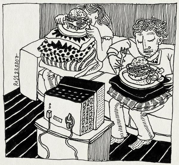 tekening 581, eten eat food tvdinner vega vegaburger bank couch fork vork kussen high television tv televisie schoot bord 10e martine