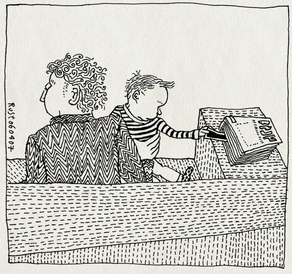 tekening 585, midas baby boekenlegger boek book snatch bank couch