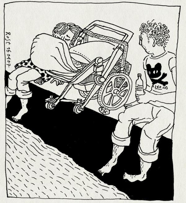 tekening 586, kade amstel weesperzijde midas 10e martine bugaboo wandelwagen buggy stroller poedelen pootjebaden randje zitten zon