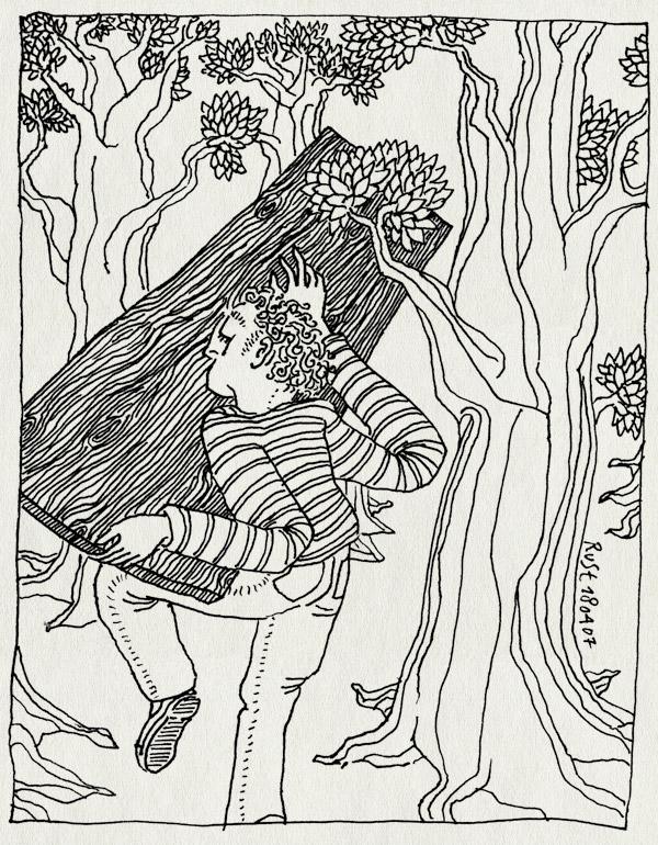 tekening 587, bert zonneveld tafel bos castricum forest trees bomen tillen lift wood hout