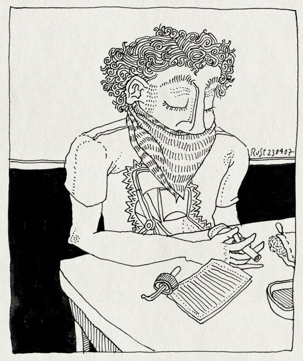tekening 588, verkouden midas ziek neusspray cold snot zakdoek towel nose curls