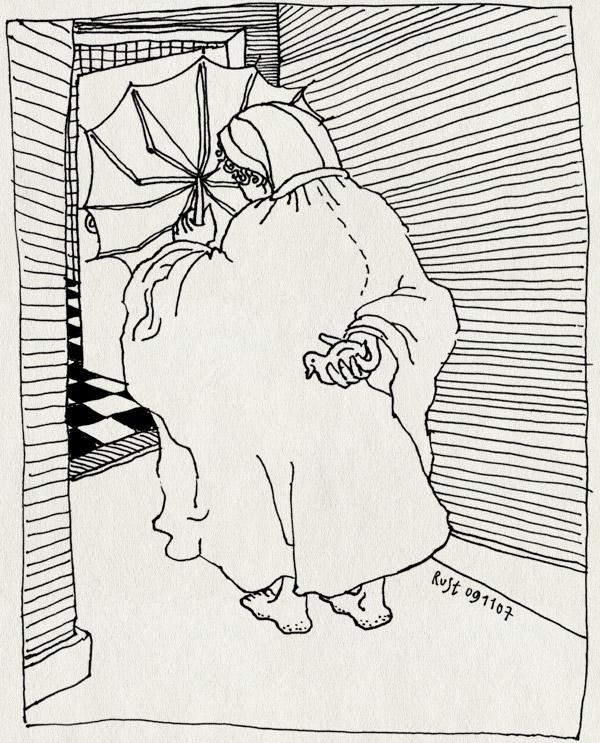 tekening 594, rain regen regenjas poncho raincoat umbrella paraplu badeend rubber ducky midas badkamer spetteren bathroom