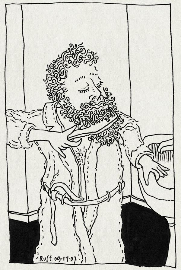 tekening 595, ruben beard curls kam baard krullen come robe badjas sink wastafel