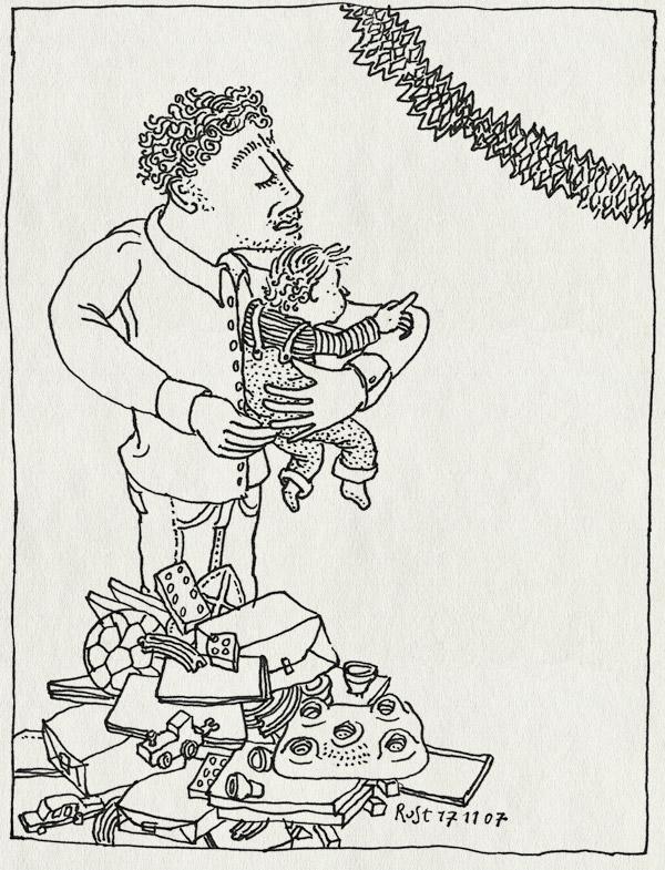 tekening 598, midas die wow verjaardag birthday first eerste slinger guirlandes presents cadeautjes berg mountain point wijzen ruben rust papa