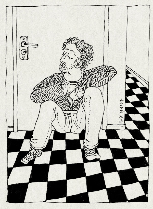 tekening 599, wc wachten ruben rust slot vloer tiles wait wating toilet