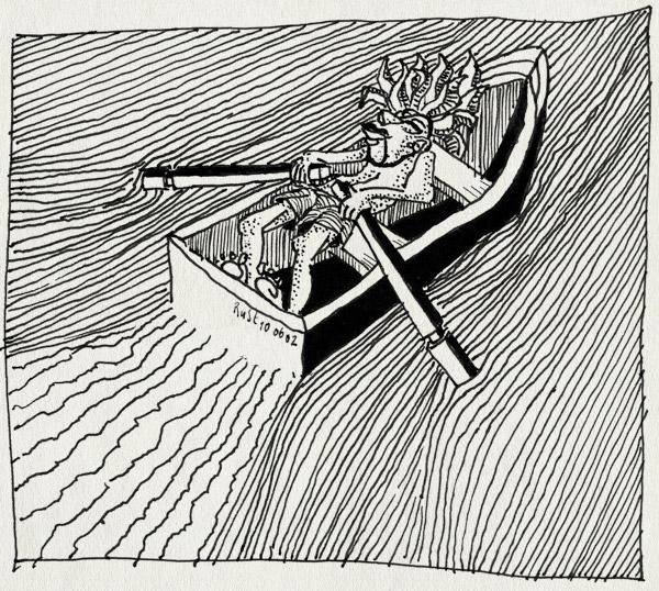 tekening 6, kracht, riemen, roeiboot, roeien, water