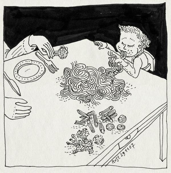 tekening 602, midas eten food toko tjaomin sliertjes eat slab tafel table bord plate