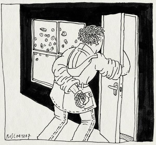 tekening 603, jas sinterklaas strooi zwartepiet handschoen glove sint nicolaas strooien om het hoekje deur