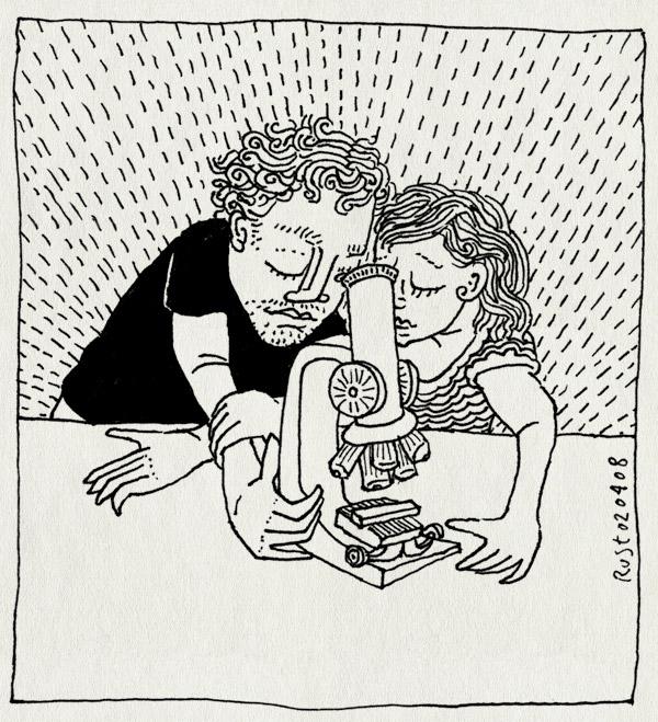 tekening 611, 10e, kijken, maastraat, martine, microscoop, microscope