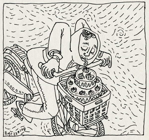 tekening 616, capuchon, fiets, nat, regen, taart
