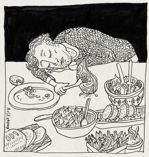tekening 618, alwine, bouffe, eten, fork, grande, karbonade, slaap, sleep, veel, vork