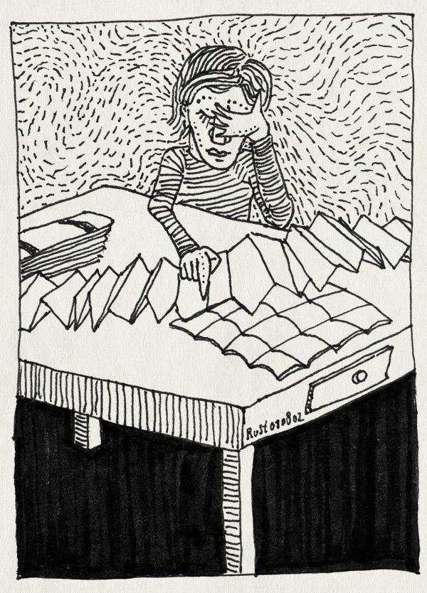 tekening 62, beeke, moeilijk, vouwen, vouwsel, werk