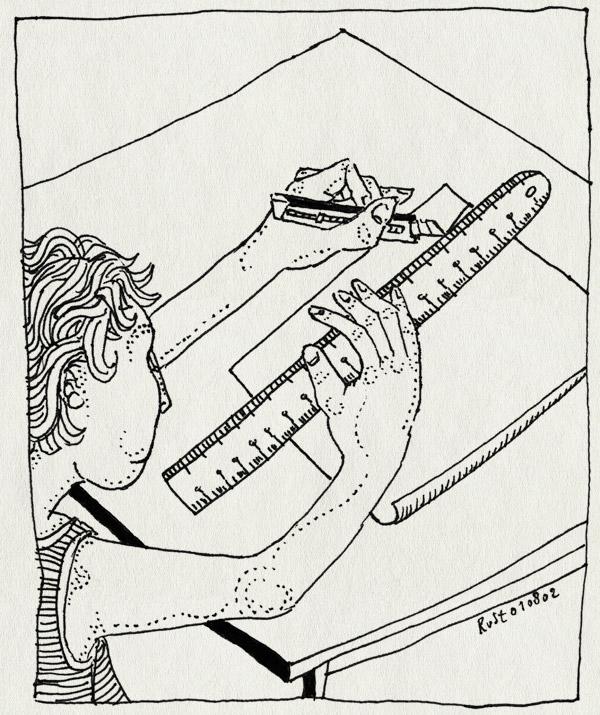 tekening 63, gevolg, lineaal, mes, snijden, stanleymes