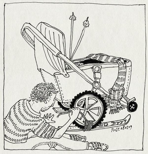 tekening 633, bugaboo, hoskens, kinderwagen, ski, sneeuw, vakantie, vastbinden, wagen, wintersport