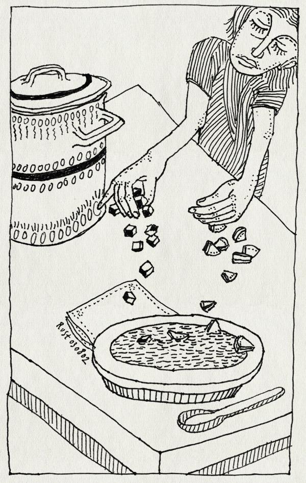 tekening 64, beeke, gazpaccio, mariola, pan, soep, soeppan