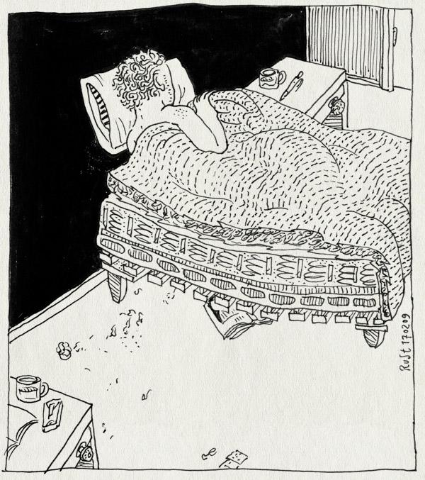 tekening 642, bed, bedroom, doormidden, half, maasstraat, slaapkamer, slaaptekort, slapen, zaag