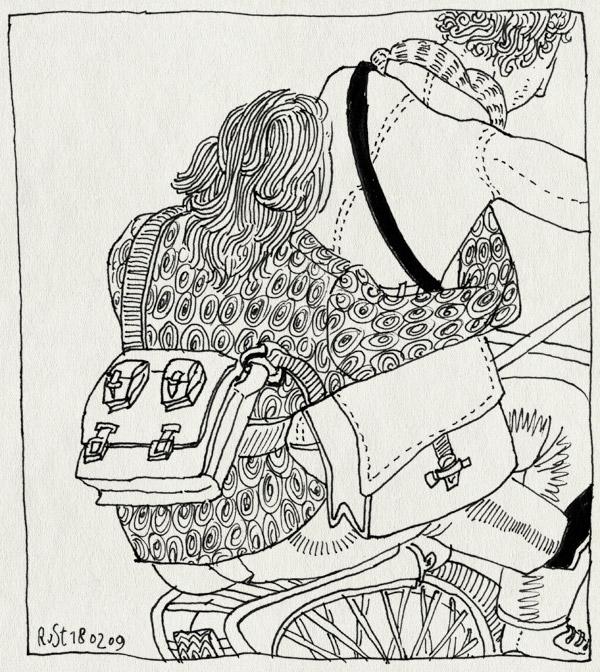 tekening 643, 10e, bicycle, bike, burorust, fiets, martine, samenwerken, springmaarachterop