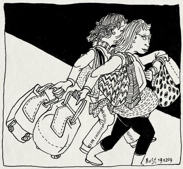 tekening 644, 10e, bags, huishoudbeurs, huisvrouwen, marije, martine, roltassen, straat, street