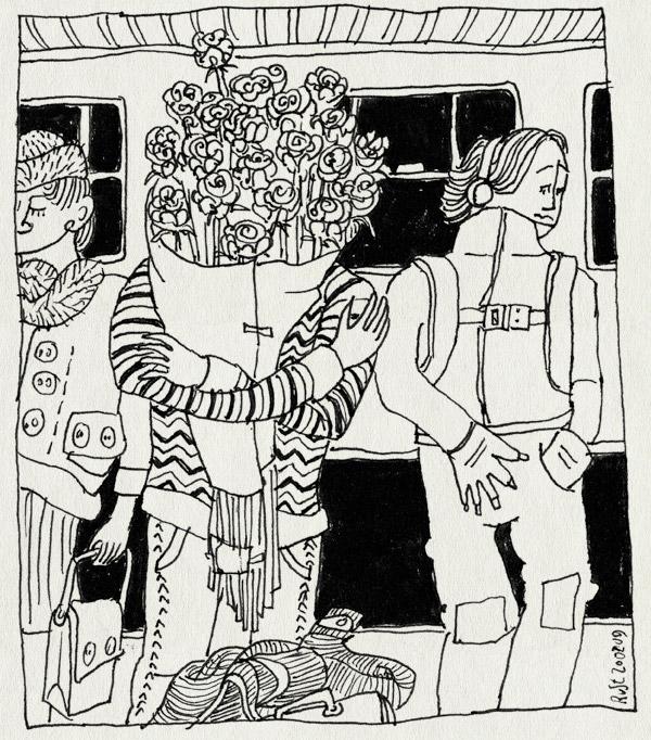 tekening 645, 10e, 5jaar, crowd, druk, gift, jubileum, martine, roses, rozen, train, trein, verkering, warm