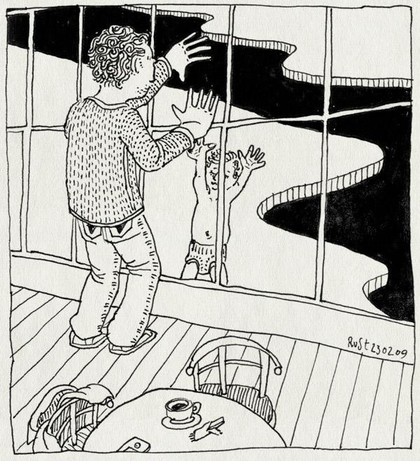 tekening 648, de mirandabad, gevangenis, glass, handen, hands, midas, prison, window, zwembad