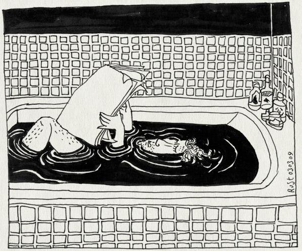 tekening 656, bad, bath, bottles, krant, paper, relax, rust