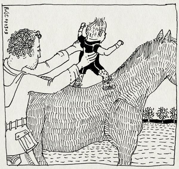 tekening 660, alwine, baby, fries, horse, paard, paardrijden, tynaarlo