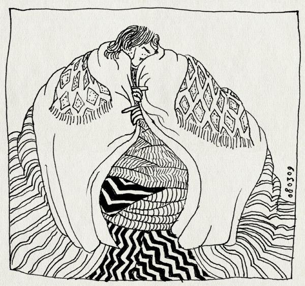 tekening 661, 10e, blankets, dekens, fever, ill, koorts, martine, ziek