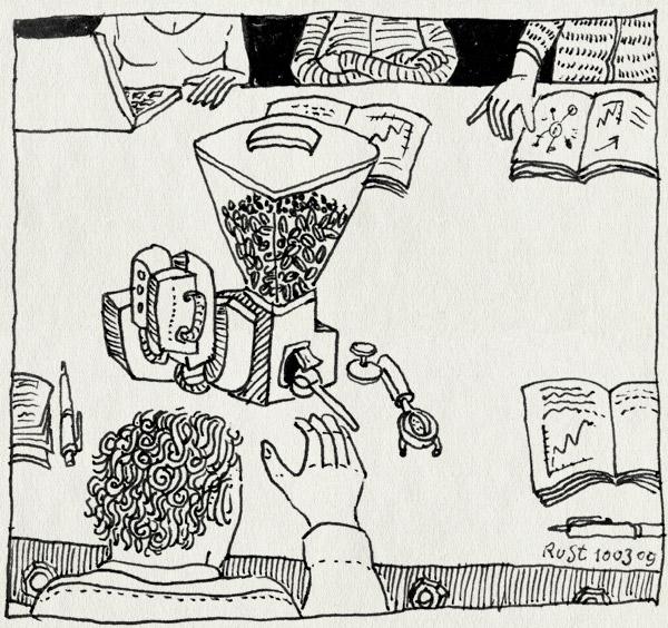 tekening 663, coffee, geluid, koffie, koffiemaler, medewerkersvergadering, nh49, noise, vergadering, werk