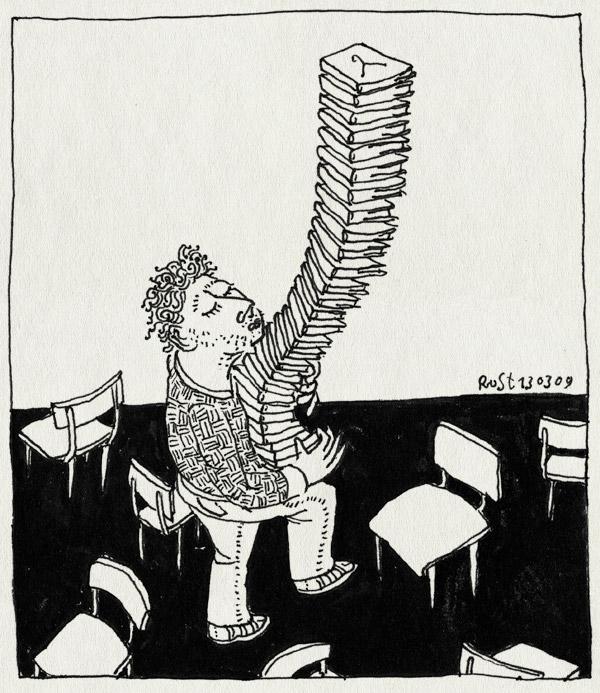 tekening 666, balance, boekjes, burorust, fairwear, pile books, staspel, werk