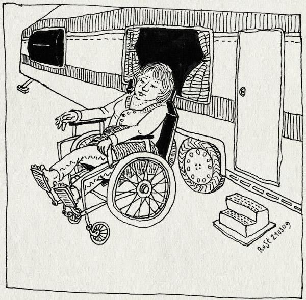 tekening 674, camping, caravan, lente, marion, marion10, rolstoel, stacaravan, wheelchair, zon