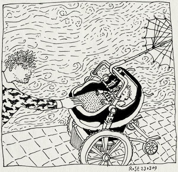 tekening 676, alwine, bugaboo, kinderwagen, maxicosy, paraplu, rain, regen, umbrella, wind