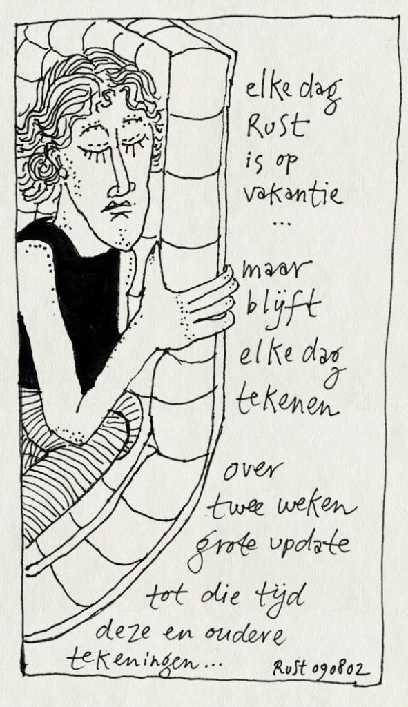 tekening 68, matras, tekst, vakantie