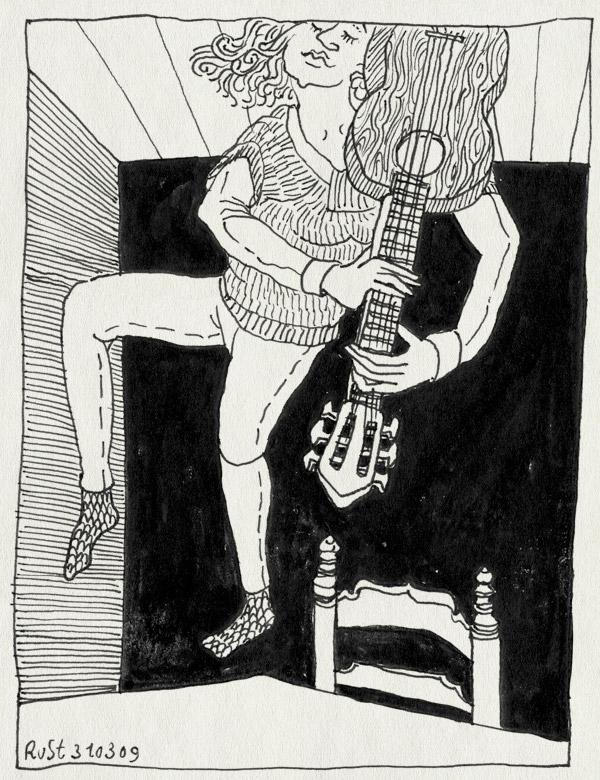 tekening 684, 10e, aangeschoten, dansen, gitaar, guitar, maasstraat, martine, prosecco, springen, tafel, tipsy