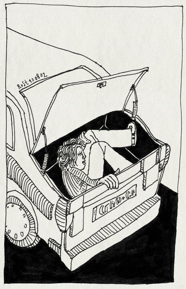 tekening 69, achterbak, auto, ingepakt, inpakken, vakantie