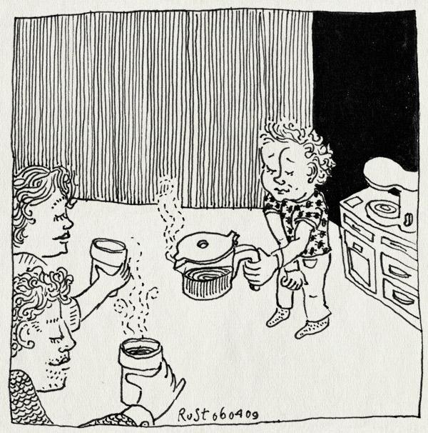 tekening 690, 10e, coffee, inschenken, koffie, koffiezetapparaat, martine, midas