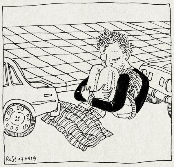 tekening 691, auto, blanket, car, cold feet, deken, koude voeten, straat, street, wachten, wait