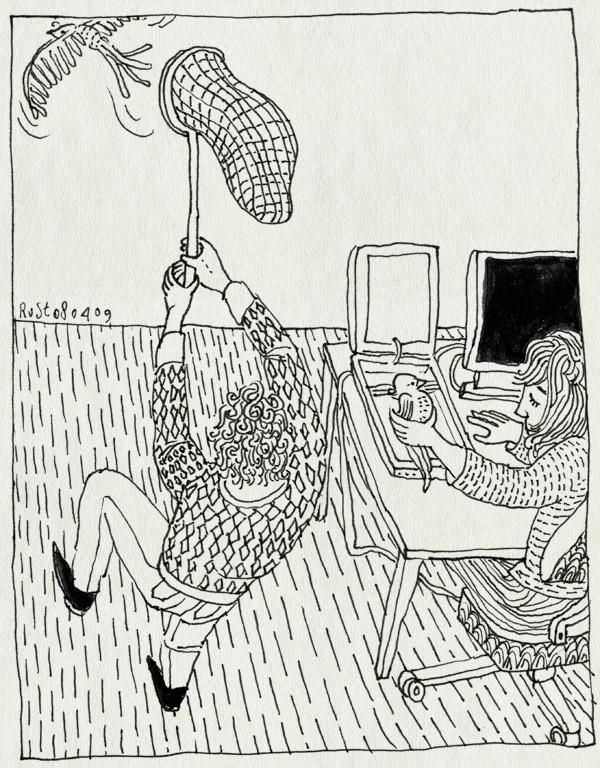 tekening 692, 10e, bird, boek, catch, ikbendaf, maken, martine, scan, scannen, twitter, vangen, vogel
