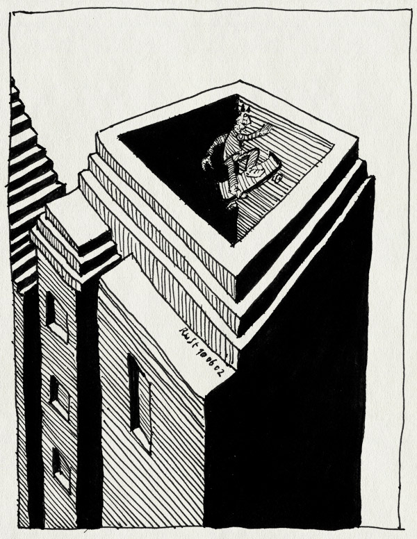 tekening 7, abstract, gebouw, huis, skateboard, skater, springen