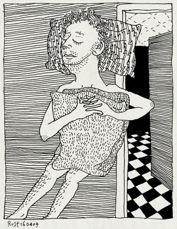 tekening 700, dekbed, gang, hallway, kussen, pillow, slaap, sleep, staans, standing, tiled floor