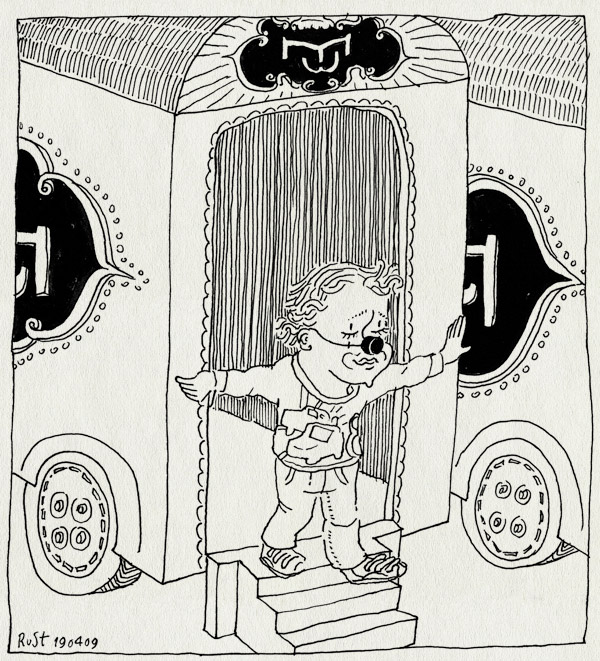 tekening 703, circus, clown, dusseldorf, midas, popof, trailer